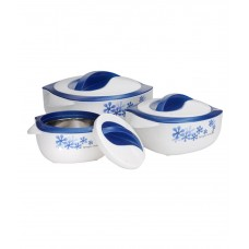 Casserole White with Blue Printed Design