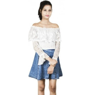 Denim Net Dress (White & Blue)
