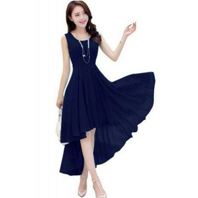 Women's Georgette Fabric Dress (Blue)