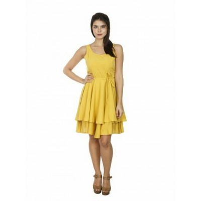 Women dress Shivalika Tex Yellow Knee length Taffeta Dress
