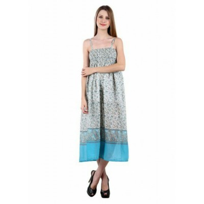Vastrasutra Women's Floral Print Sleeveless Crepe Dress (Blue)