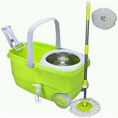 Spin Mop with Bigger Wheels & Auto Fold Handle for 360 Degree Cleaning
