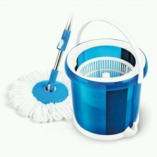 Spin Round Mop with 2 Microfiber Heads Blue