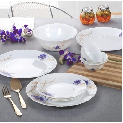 Cello Imperial Pot Pourri Opalware Dinner Set, 33 Pieces, White
