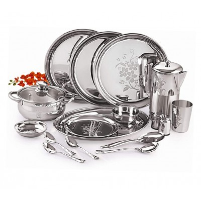 2Reviews Neelam Stainless Steel Lazer Etching 40 pcs Dinner Set