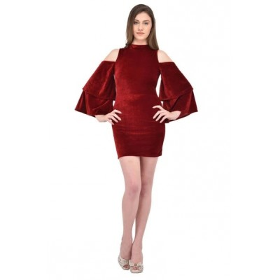 Rich Red VelVet Women Short Dress