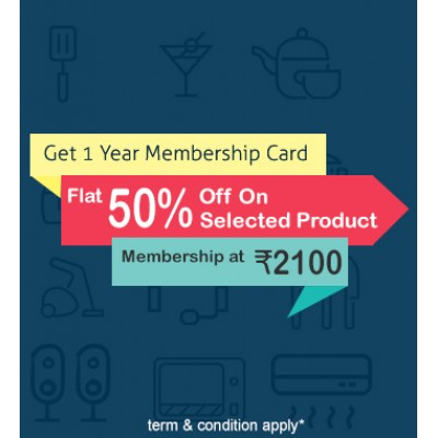 Congratulations 1 year 50% discount membership card only Homeshops network 10% 15% others brand discount